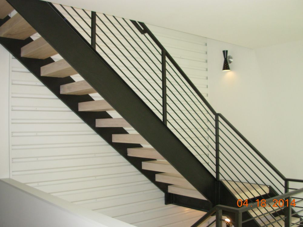 Channel Stringer Stair with Guardrail